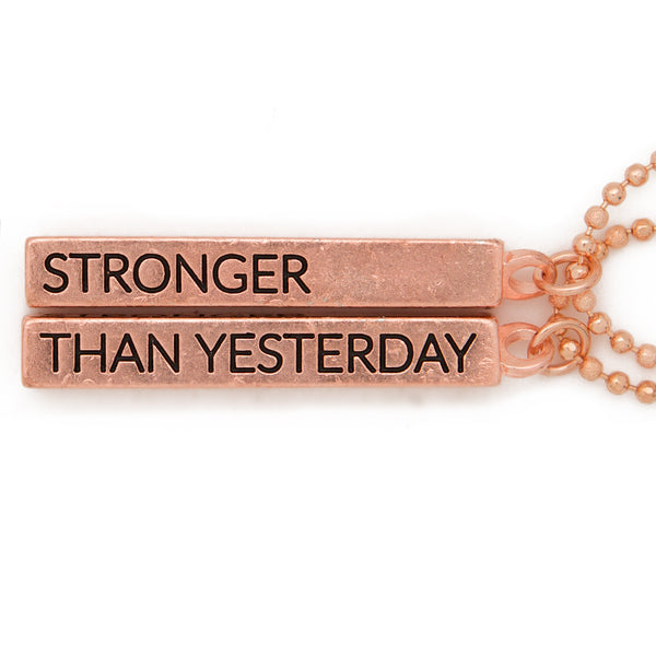"Cube pendant necklace, ""Stronger, than yesterday"" - 36"""