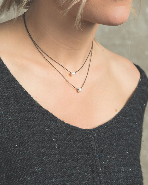 "Layered Necklace, Pearl - 15-17"", Gunmetal"
