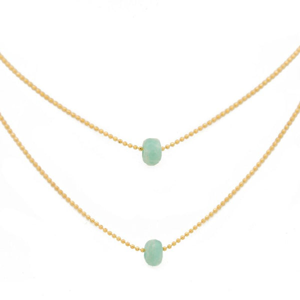 "FIND YOUR INNER STRENGTH. Layered Necklace, Amazonite - 15-17"", Gold"