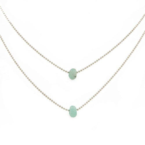 "FIND YOUR INNER STRENGTH. Layered Necklace, Amazonite - 15-17"", Silver"