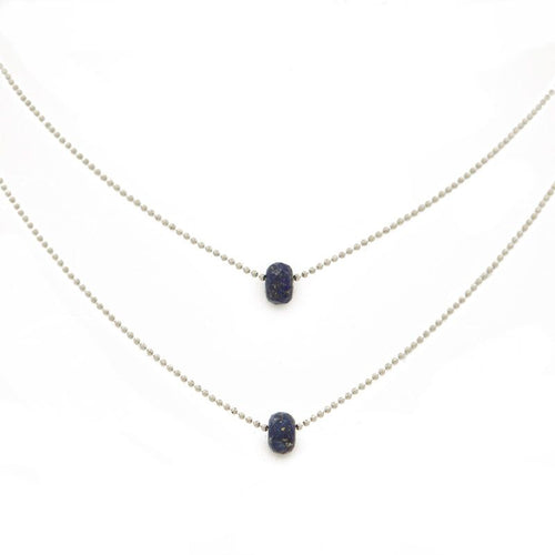 "FIND VISION. Layered Necklace, Lapis Lazuli - 15-17"", Silver"