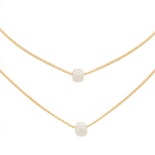 "Layered Necklace Pearl - 15-17"", Gold"