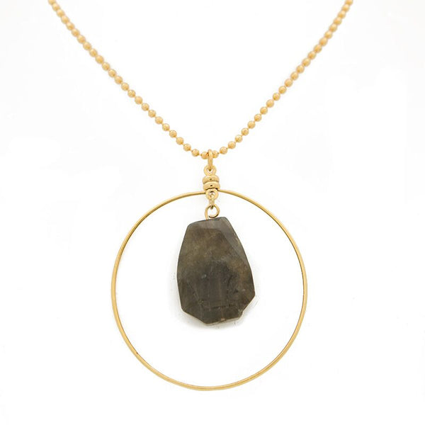 "ACHIEVE YOUR DREAMS. Focal Necklace, Labradorite - 36"", Gold"