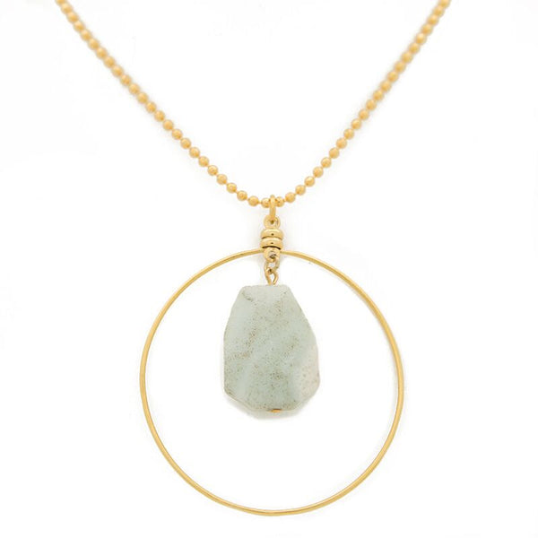 "FIND YOUR INNER STRENGTH. Focal necklace, Amazonite - 36"", Gold"