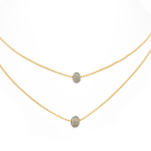 "ACHIEVE YOUR DREAMS. Layered Necklace, Labradorite - 15-17"", Gold"