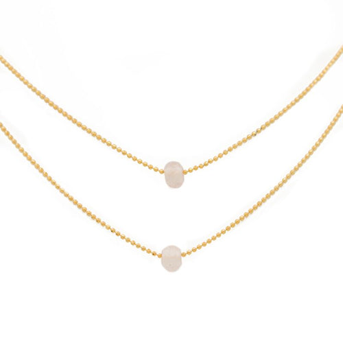 "KNOW YOU ARE LOVED. Layered Necklace, Rose Quartz - 15-17"", Gold"