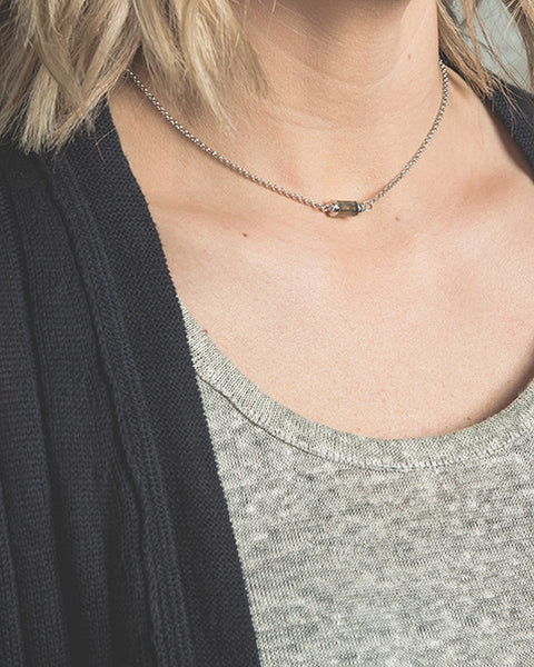"ACHIEVE YOUR DREAMS. Gemstone choker, Labradorite - 14-16"", Silver"