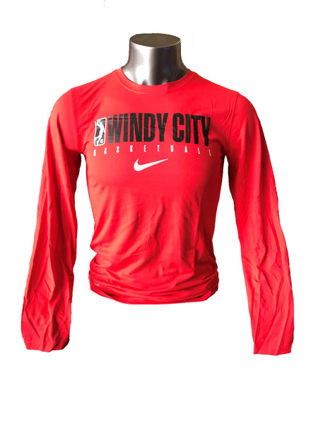 Men's Nike Dry Tee Practice Long Sleeve - Red, Black or Gray (Left GLeague Logo)