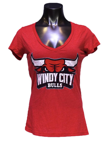 Women's NBA Majestic Red S/S V-neck