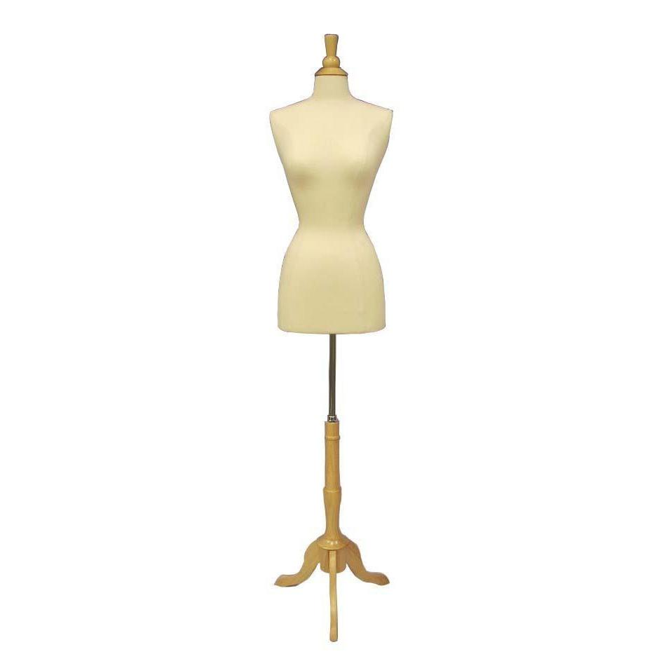 Best Seller 14/16 / Natural Wood / White Form Female Dress Form with Tripod Wooden Base For Fashion Stores and Retail Shops