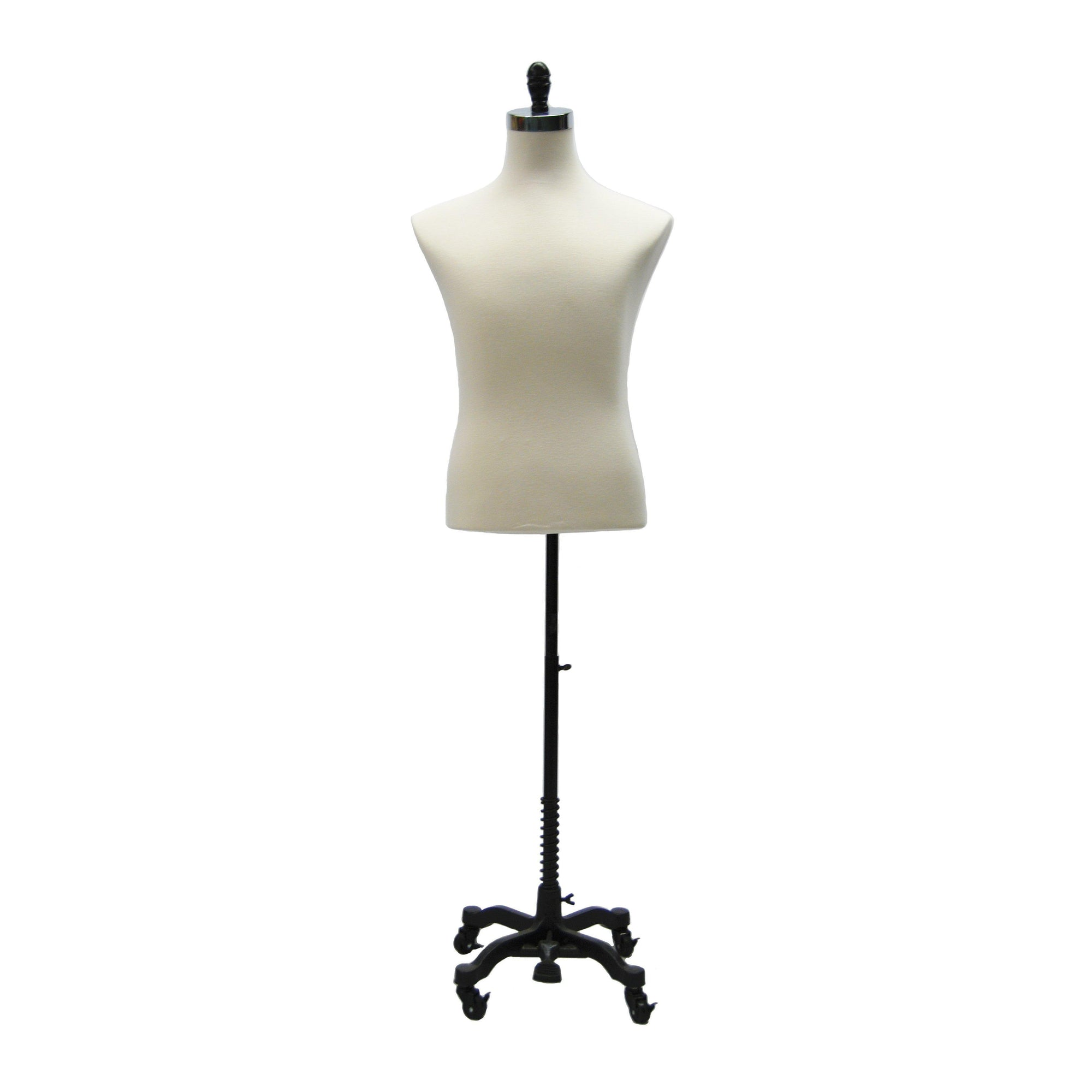 Best Seller Black Rolling Base / White Male Dress Form With Rolling Base For Fashion Stores and Retail Shops