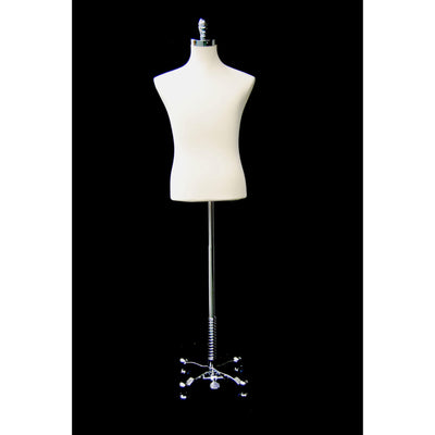 Best Seller Chrome Rolling Base / White Male Dress Form With Rolling Base For Fashion Stores and Retail Shops