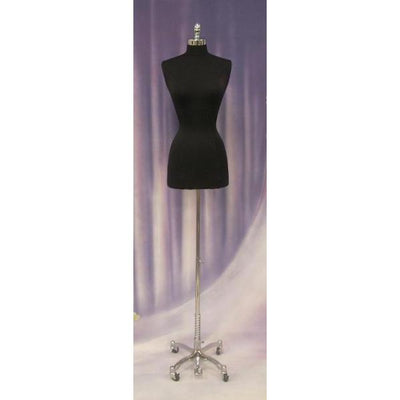 Mannequin Mall 2-4 / Black Female Dress Form with Chrome Rolling Base For Fashion Stores and Retail Shops