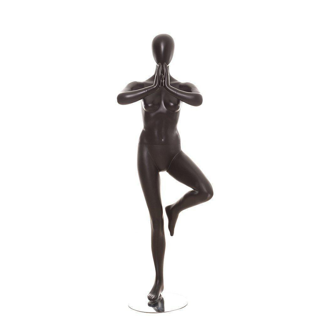 Mannequin Mall Black Female Yoga Tree Pose Mannequin MM-YOGA02BK For Fashion Stores and Retail Shops