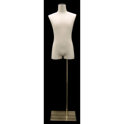 Mannequin Mall Dress Form with Silver Base Male Pure White Linen Dress Form MM-JM1WL For Fashion Stores and Retail Shops