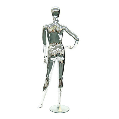Mannequin Mall Female Chrome Mannequin MM-8013 For Fashion Stores and Retail Shops