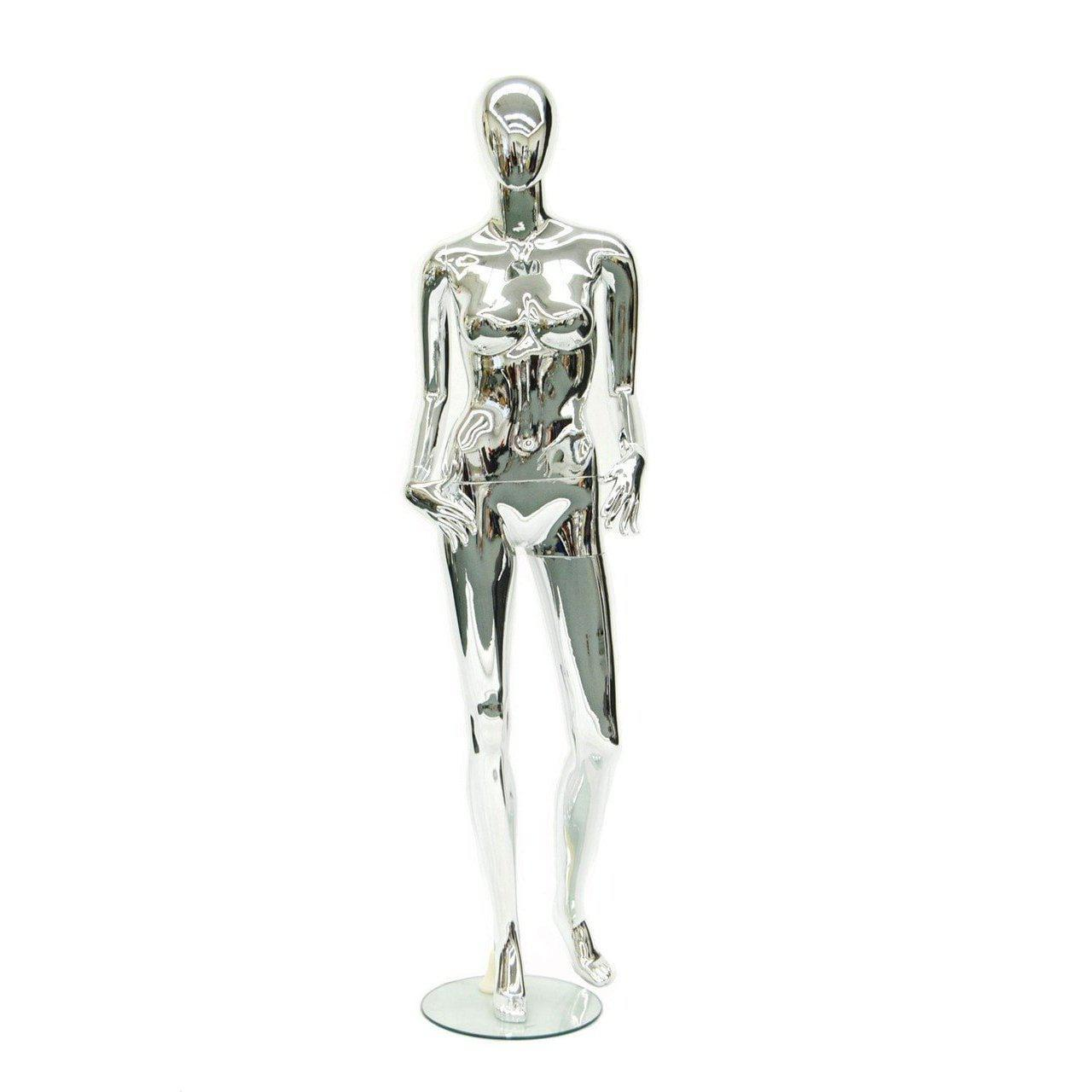 Mannequin Mall Female Chrome Mannequin MM-801T22 For Fashion Stores and Retail Shops