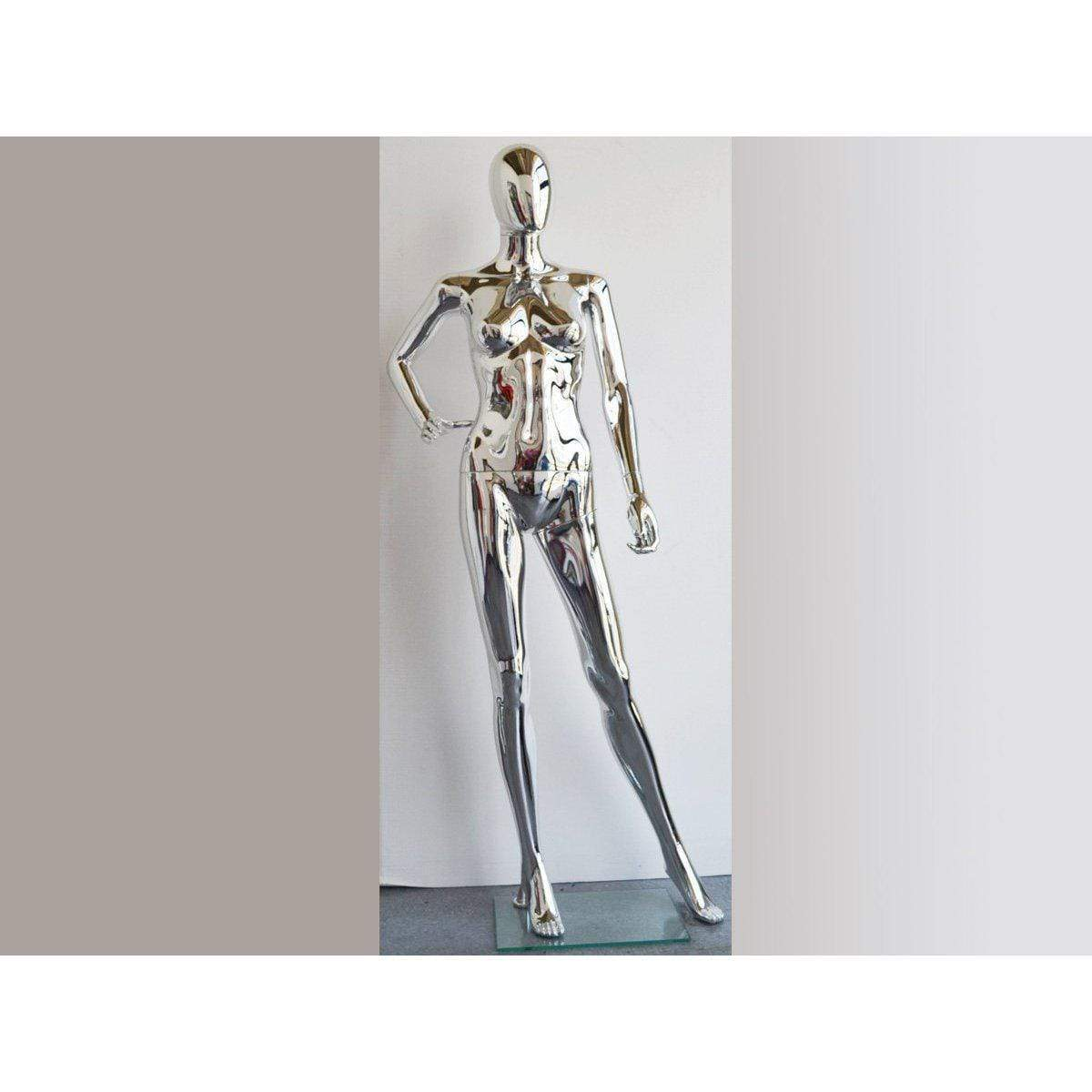 Mannequin Mall Female Chrome Mannequin MM-PS-SF15SCEG For Fashion Stores and Retail Shops