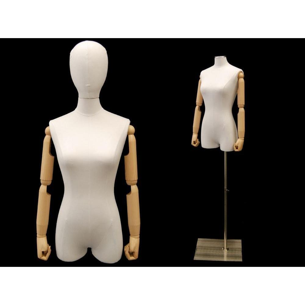 Mannequin Mall Female Pure White Linen Dress Form with Arms MM-1WLARM For Fashion Stores and Retail Shops