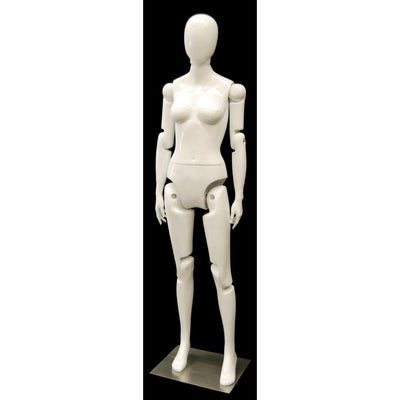 Mannequin Mall Female White Abstract Posable Mannequin MM-FXWEG For Fashion Stores and Retail Shops