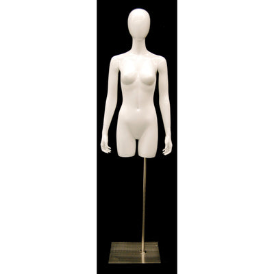 Mannequin Mall Glossy White Female Egghead Mannequin Torso With Base MM-TFWEG For Fashion Stores and Retail Shops