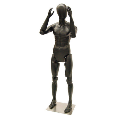 Mannequin Mall Male Black Abstract Posable Mannequin MM-MFXB For Fashion Stores and Retail Shops