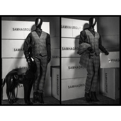 Mannequin Mall Male Black Abstract Posable Mannequin with Back Support MM-01BKEG For Fashion Stores and Retail Shops