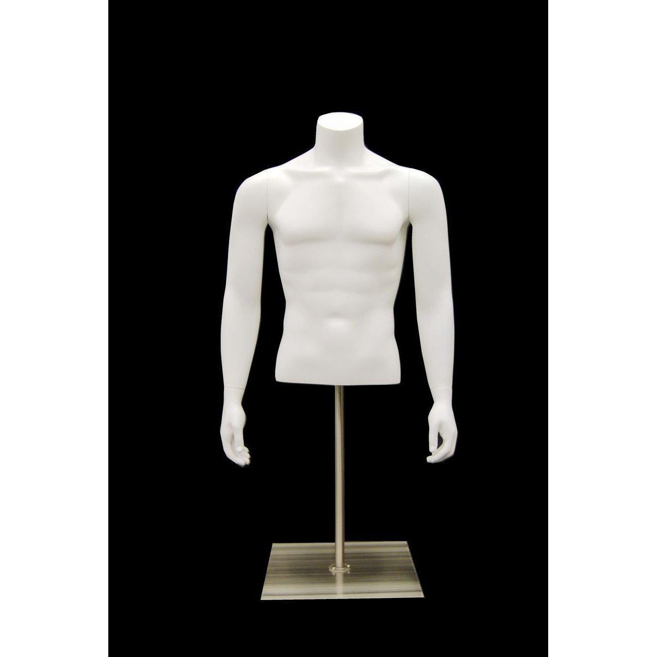 Mannequin Mall Male Torso w/ Base MM-EGTMSABW For Fashion Stores and Retail Shops
