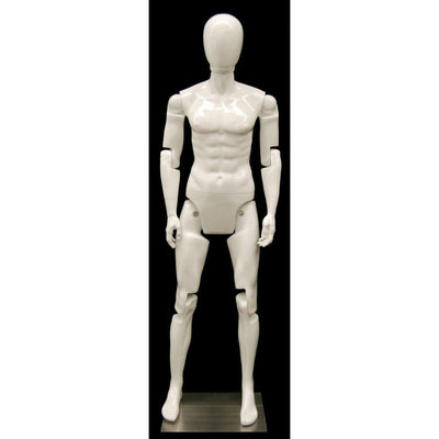 Mannequin Mall Male White Abstract Posable Mannequin MM-MFXW For Fashion Stores and Retail Shops