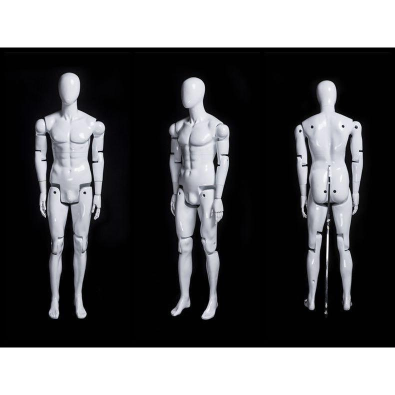 Mannequin Mall Male White Abstract Posable Mannequin with Back Support MM-01WEG For Fashion Stores and Retail Shops