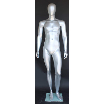 Mannequin Mall Silver Egghead Male Mannequin MM-SFM26E-ST For Fashion Stores and Retail Shops