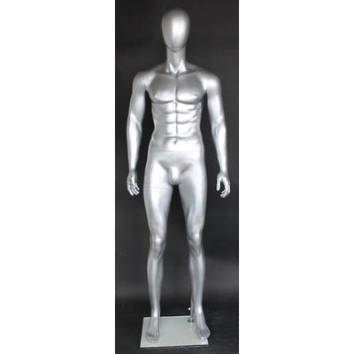 Mannequin Mall Silver Egghead Male Mannequin MM-SFM29E-ST For Fashion Stores and Retail Shops