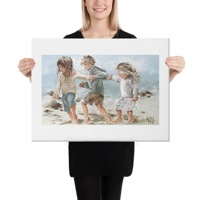 Kids on the beach - 18 x 24 Canvas Print