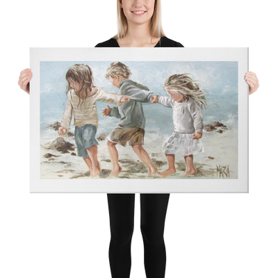 Kids on the beach - 24 x 36 Canvas Print
