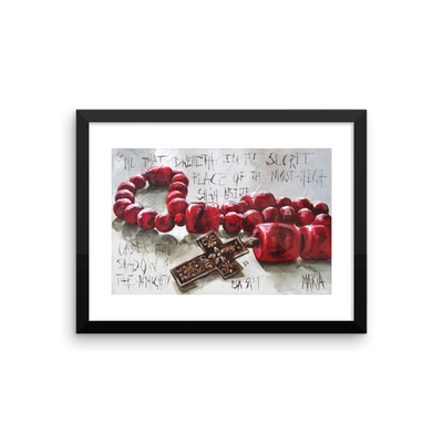 Red Beads with Cross - 16 x 12 Paper Print