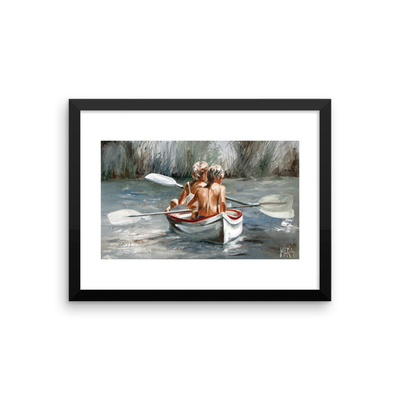 Children on Rowing Boat - 16 x 12 Paper Print