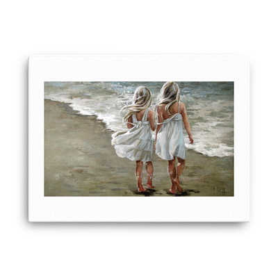Long walk on the beach - 18 x 24 Canvas Print