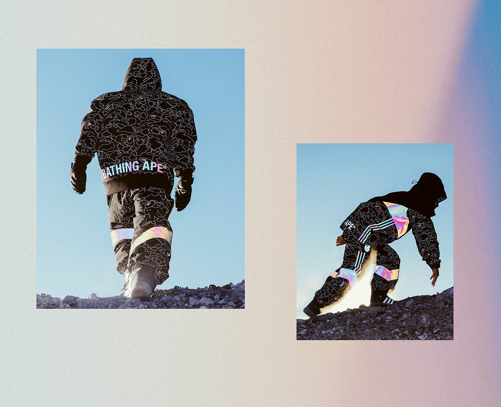 The collaboration's apparel offer comprises the BAPE® Tech Hoodie, BAPE®  Slopetrotter Pant and BAPE® Snow Jacket – a comprehensive winter sport  wardrobe.