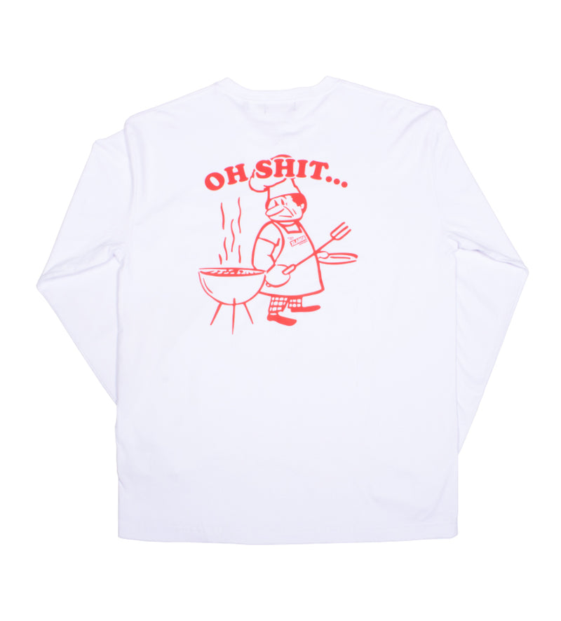 Oh Shit L/S Pocket Tee (White)