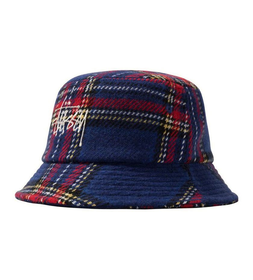 Big Logo Plaid Bucket Hat (Blue)