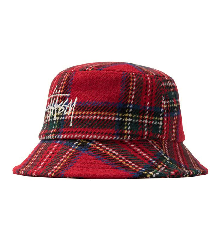 Big Logo Plaid Bucket Hat (Red)
