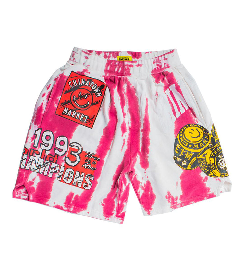 Smiley Champion 3 Rings Tie Dye Sweatshorts (Red)