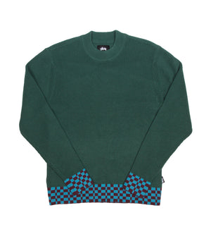 Checker Trim Sweater (Olive)