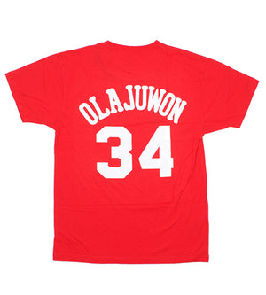 Hakeem Olajuwon Houston Rockets Name & Number Tee (Red)
