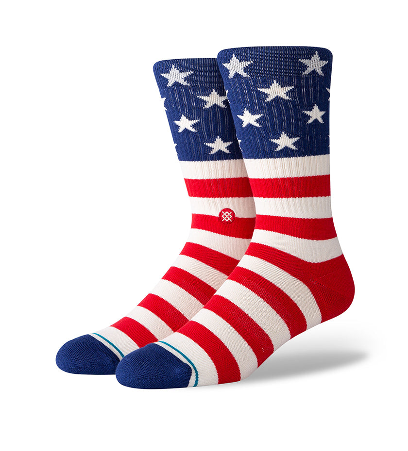 The Fourth Striped Crew Socks (Red)