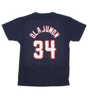 Hakeem Olajuwon Houston Rockets Name & Number Classic Throwback Tee (Navy)