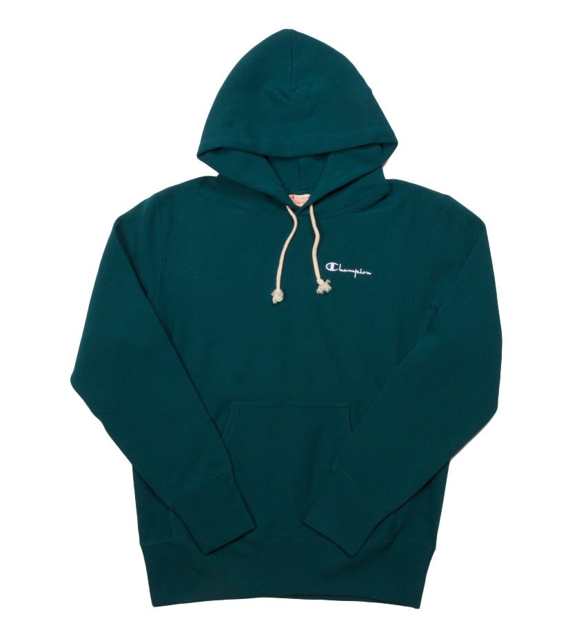Reverse Weave Small Script Hoodie (Jeweled Jade)