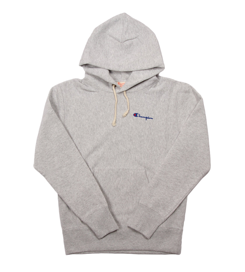 Reverse Weave Small Script Hoodie (Oxford Gray)
