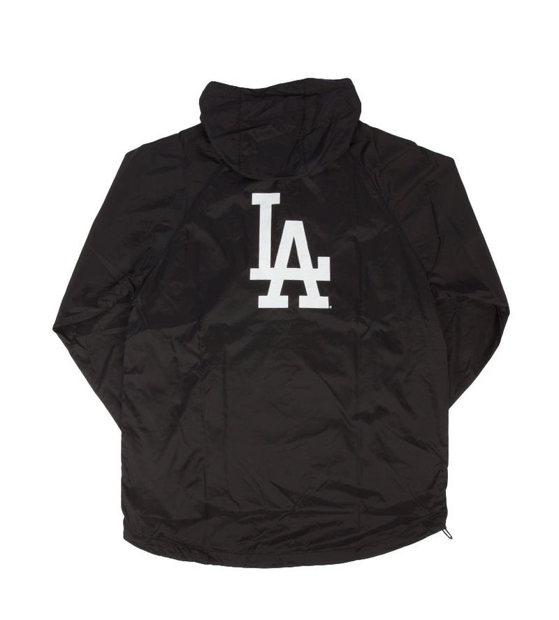 LA Dodgers Quarter-Zip Anorak Packable Hoodie Jacket (Black)