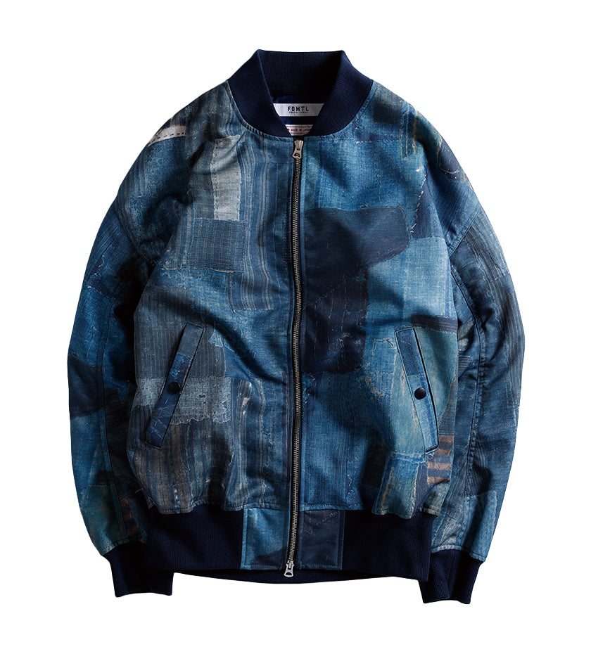 Boro Pleats Bomber Jacket (Navy)